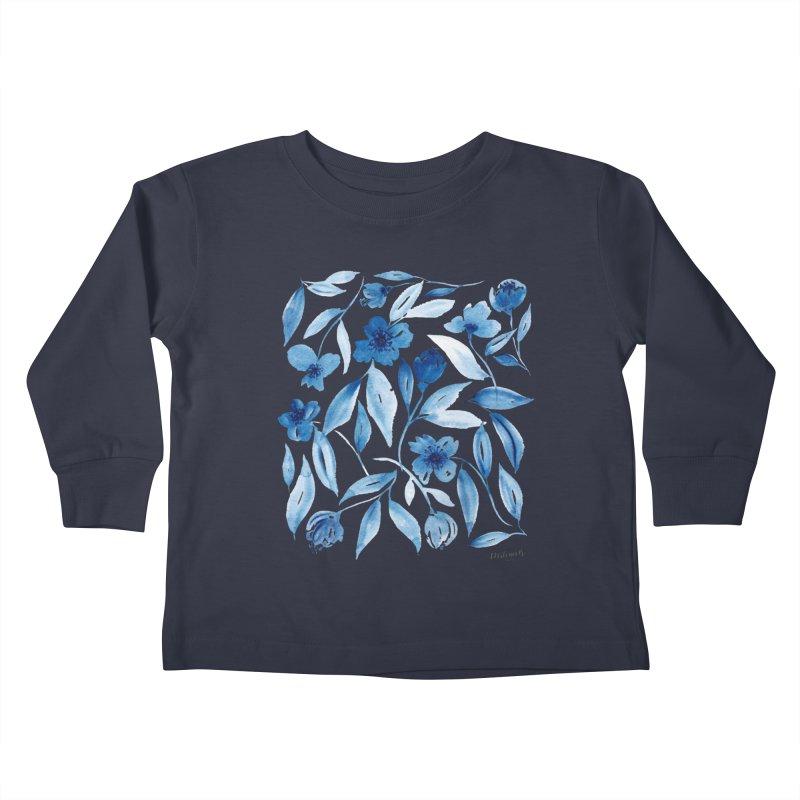 Prussian Floral Kids Toddler Longsleeve T-Shirt by milenabdesign's Artist Shop