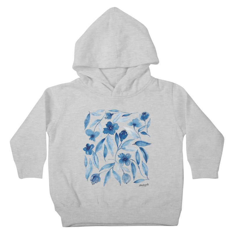 Prussian Floral Kids Toddler Pullover Hoody by milenabdesign's Artist Shop