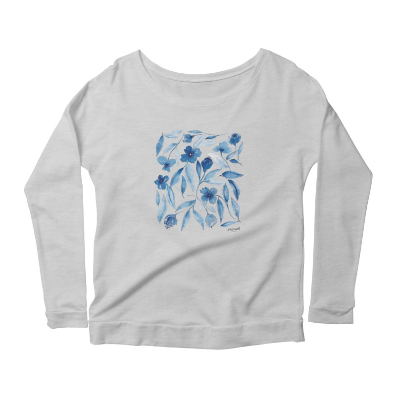 Prussian Floral Women's Longsleeve T-Shirt by milenabdesign's Artist Shop