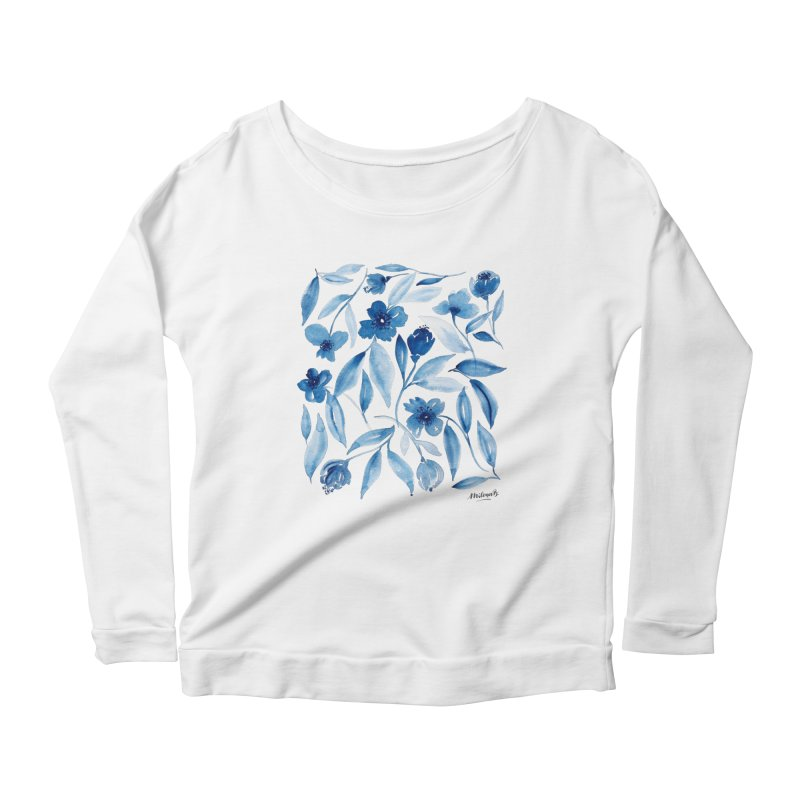 Prussian Floral Women's Scoop Neck Longsleeve T-Shirt by milenabdesign's Artist Shop