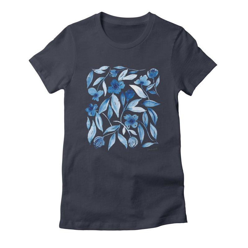 Prussian Floral Women's Fitted T-Shirt by milenabdesign's Artist Shop