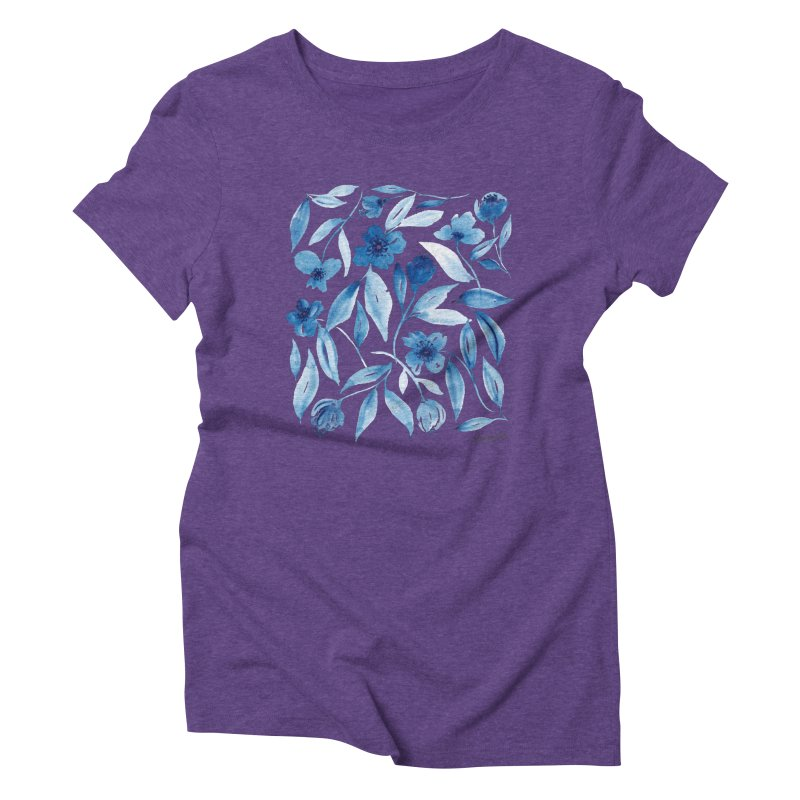 Prussian Floral Women's Triblend T-Shirt by milenabdesign's Artist Shop