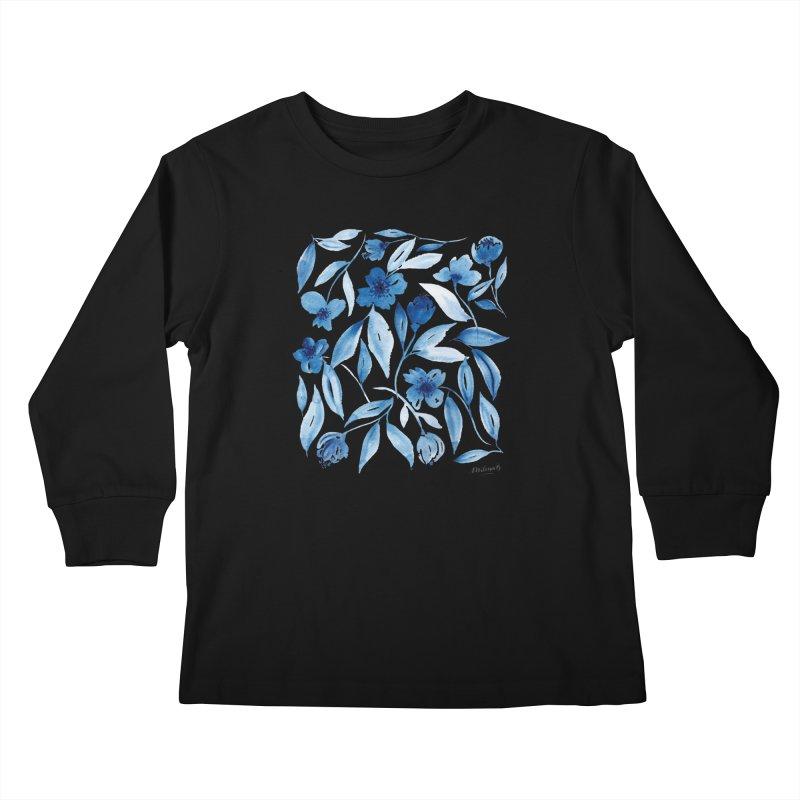 Prussian Floral Kids Longsleeve T-Shirt by milenabdesign's Artist Shop