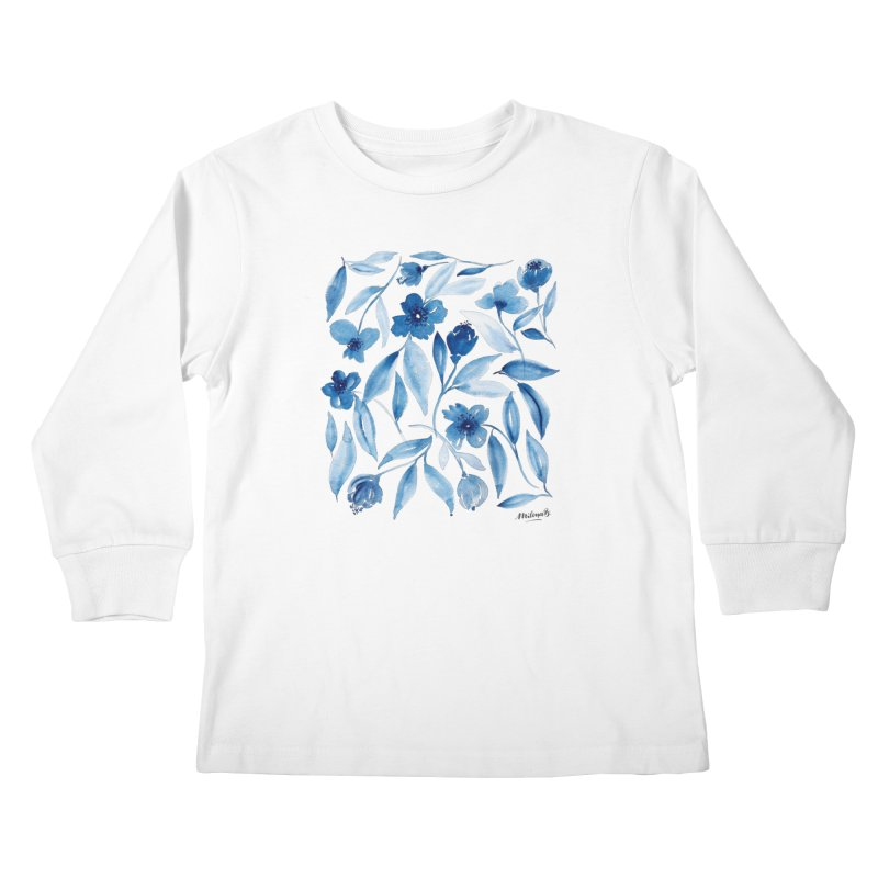 Prussian Floral Kids Longsleeve T-Shirt by milenabdesign's Artist Shop