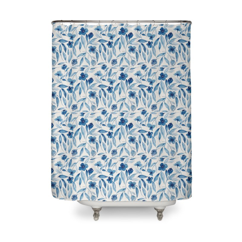 Prussian Floral Home Shower Curtain by milenabdesign's Artist Shop