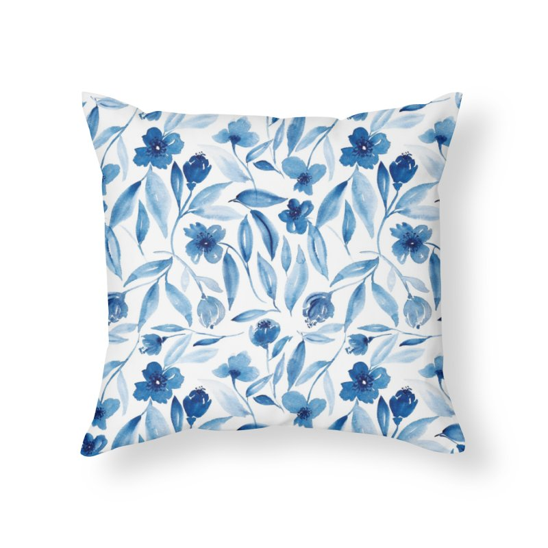 Prussian Floral Home Throw Pillow by milenabdesign's Artist Shop