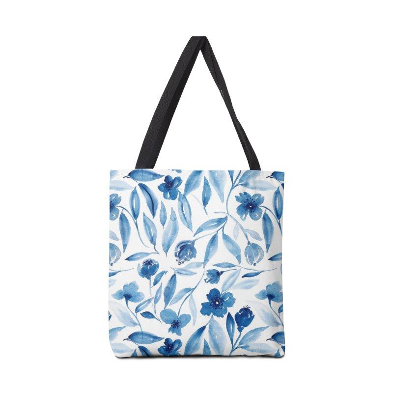 Prussian Floral Accessories Bag by milenabdesign's Artist Shop