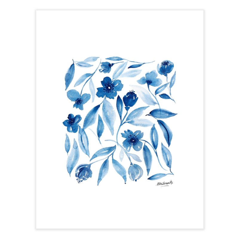 Prussian Floral Home Fine Art Print by milenabdesign's Artist Shop