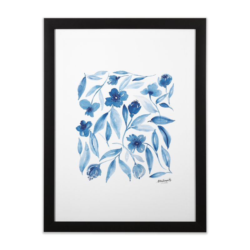 Prussian Floral Home Framed Fine Art Print by milenabdesign's Artist Shop