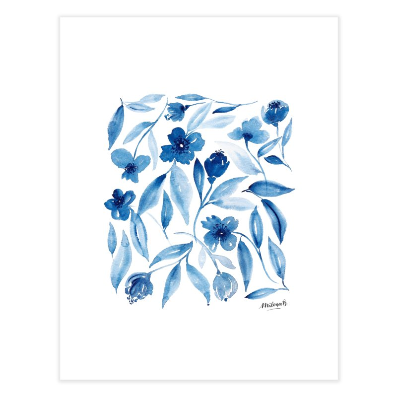 Prussian Floral Home Fine Art Print by milenabdesign's Artist Shop