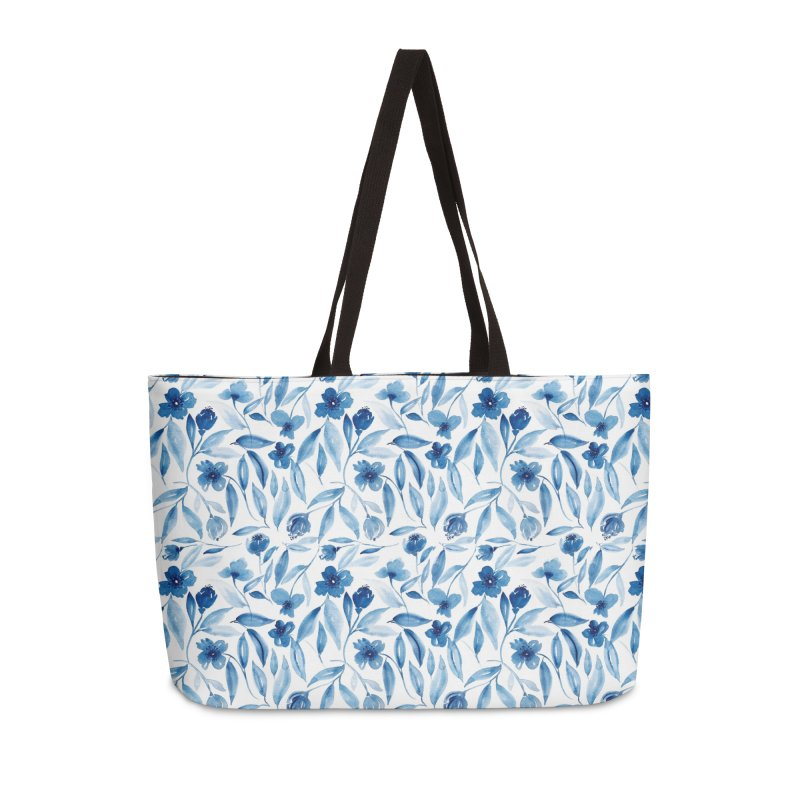 Prussian Floral Accessories Weekender Bag Bag by milenabdesign's Artist Shop