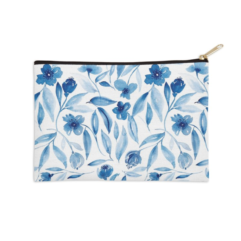 Prussian Floral Accessories Zip Pouch by milenabdesign's Artist Shop
