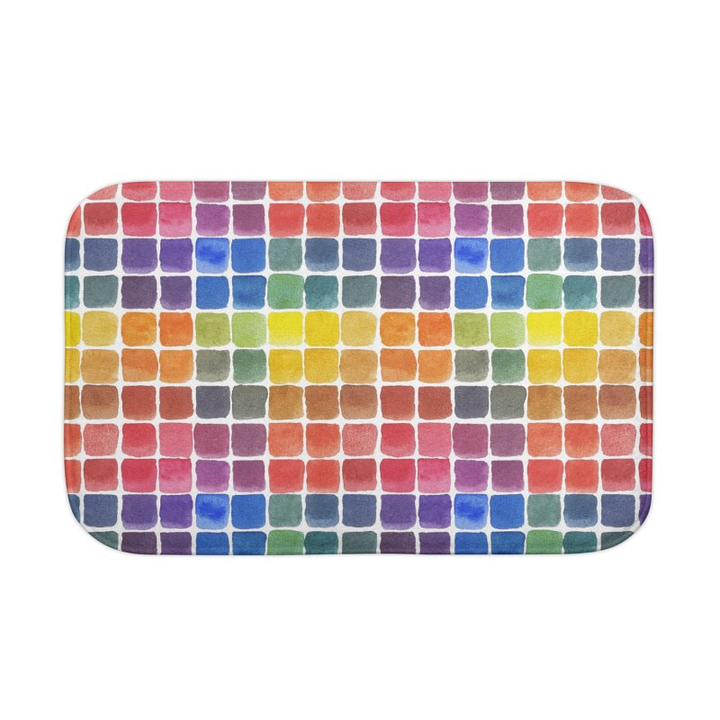 Mix it Up! - Watercolor Chart Pattern Home Bath Mat by milenabdesign's Artist Shop