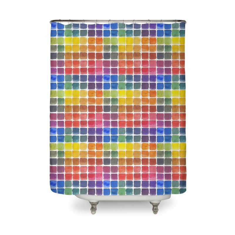 Mix it Up! - Watercolor Chart Pattern Home Shower Curtain by milenabdesign's Artist Shop