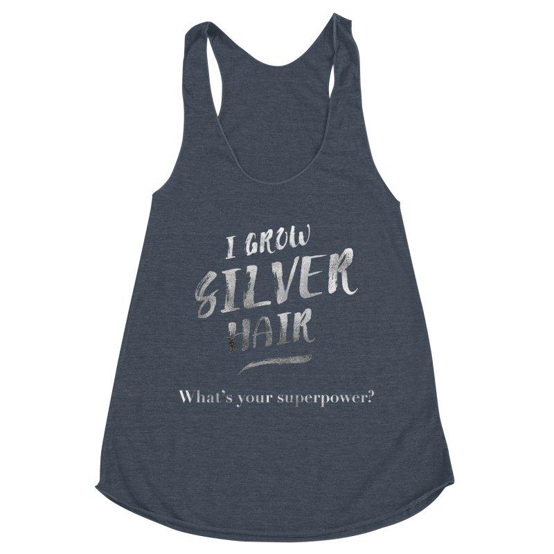 Silver Hair Superpower Women's Racerback Triblend Tank by milenabdesign's Artist Shop