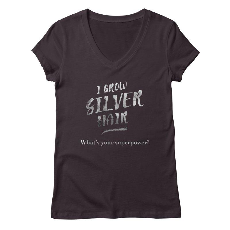 Silver Hair Superpower Women's V-Neck by milenabdesign's Artist Shop
