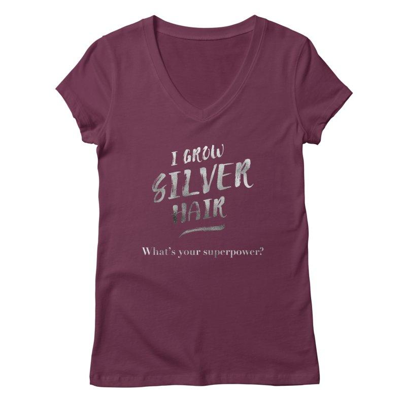 Silver Hair Superpower Women's Regular V-Neck by milenabdesign's Artist Shop
