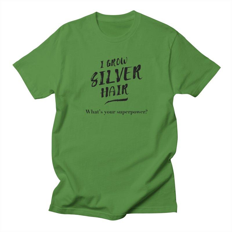 Silver Hair Superpower (black) Women's T-Shirt by milenabdesign's Artist Shop