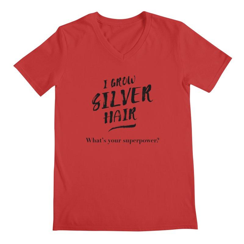 Silver Hair Superpower (black) Men's V-Neck by milenabdesign's Artist Shop