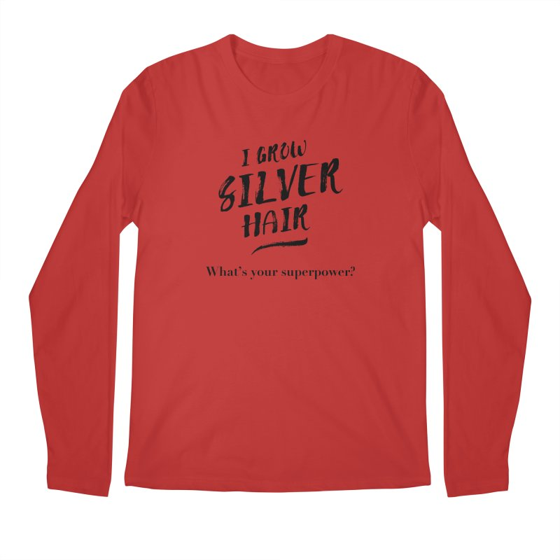 Silver Hair Superpower (black) Men's Regular Longsleeve T-Shirt by milenabdesign's Artist Shop