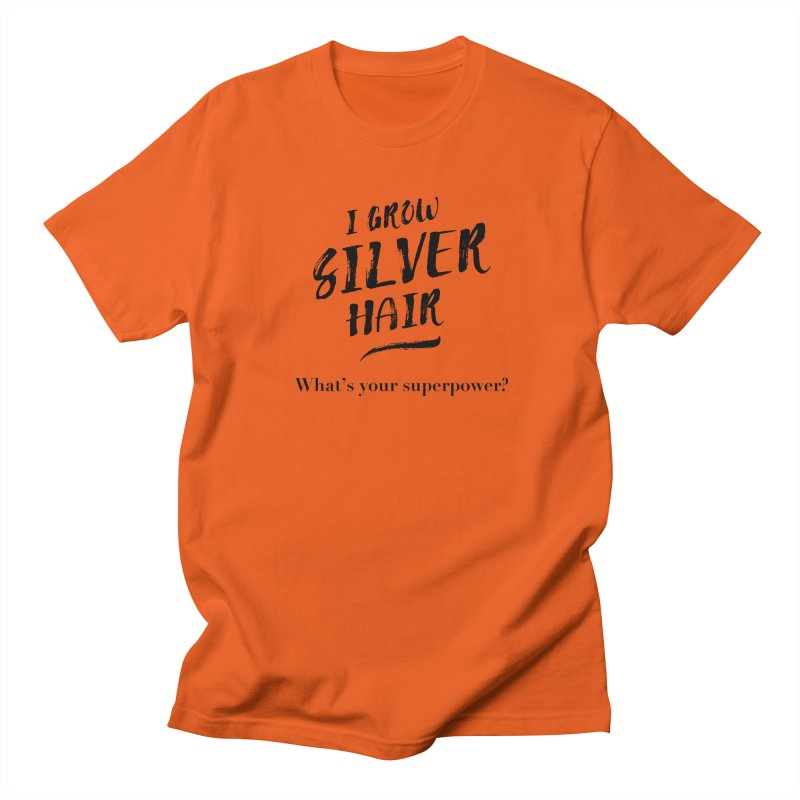 Silver Hair Superpower (black) Men's Regular T-Shirt by milenabdesign's Artist Shop
