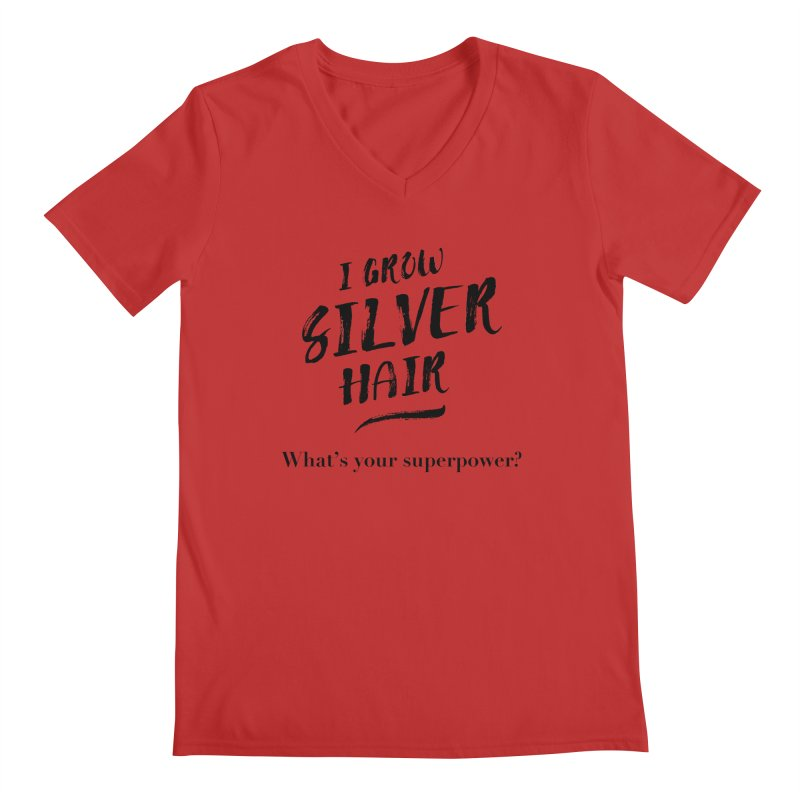 Silver Hair Superpower (black) Men's Regular V-Neck by milenabdesign's Artist Shop