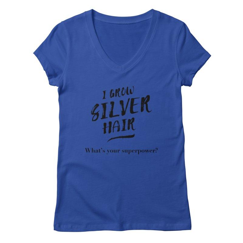 Silver Hair Superpower (black) Women's V-Neck by milenabdesign's Artist Shop