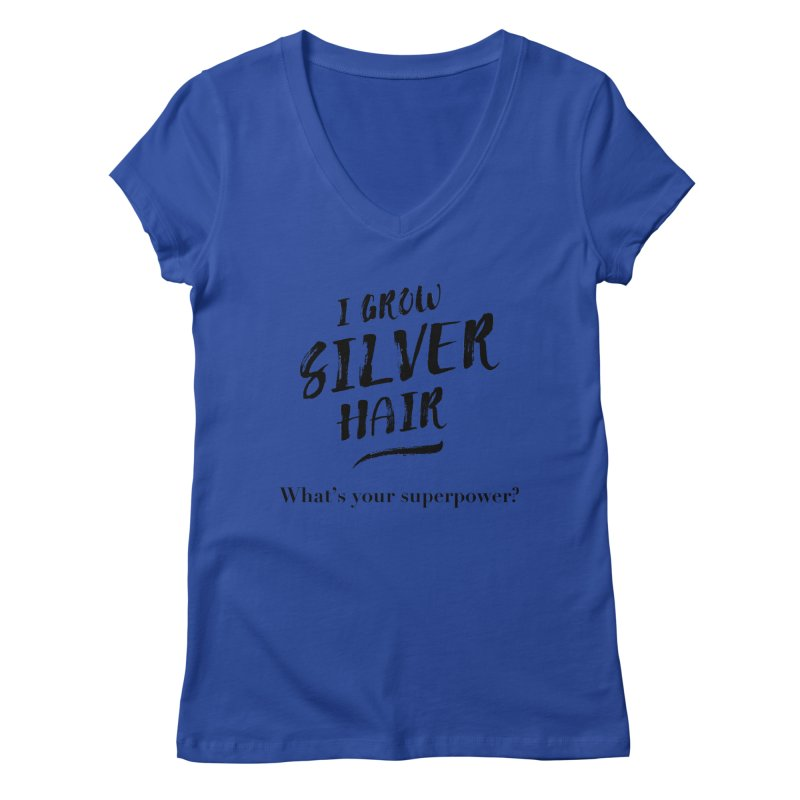 Silver Hair Superpower (black) Women's Regular V-Neck by milenabdesign's Artist Shop