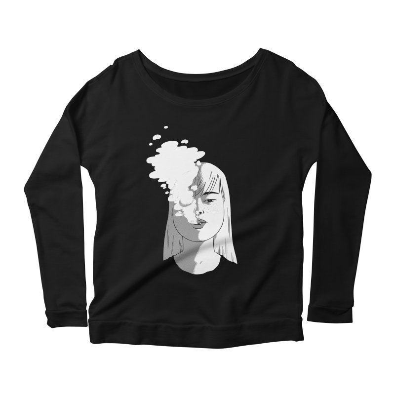 smokin' Women's Longsleeve Scoopneck  by milkbarista's Artist Shop