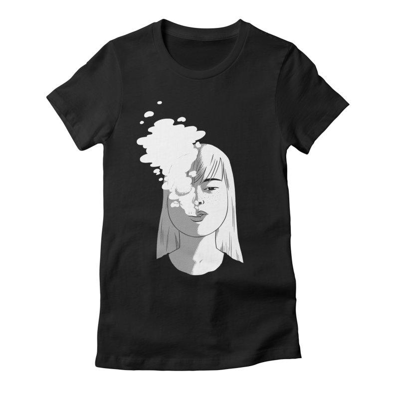 smokin' Women's Fitted T-Shirt by milkbarista's Artist Shop