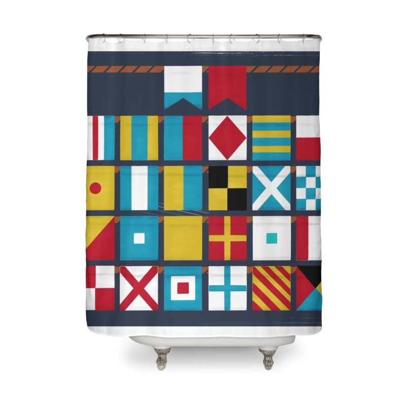 Nautical Flag Alphabet Home Shower Curtain by Milk Bread