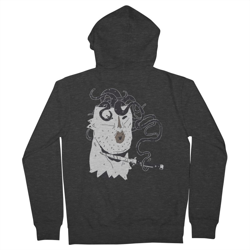 Danger Thoughts (B&W) Women's French Terry Zip-Up Hoody by miltondidi's Artist Shop