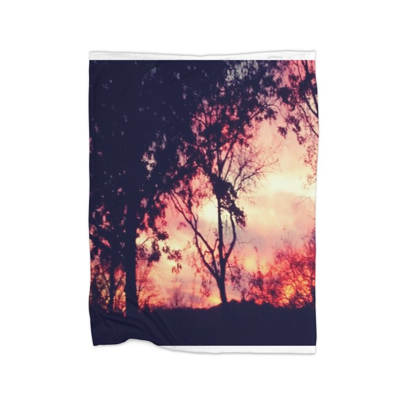Fiery Sunset Home Blanket by Mind-art Passion