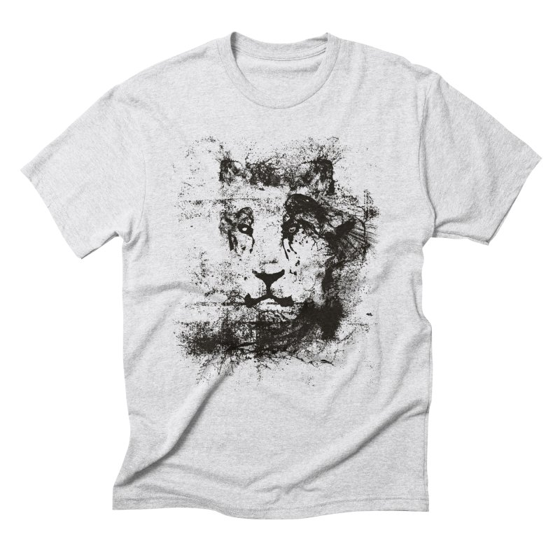 Ink Lion | On Sale!  ➔ in Men's Triblend T-Shirt Heather White by The Mindful Tee