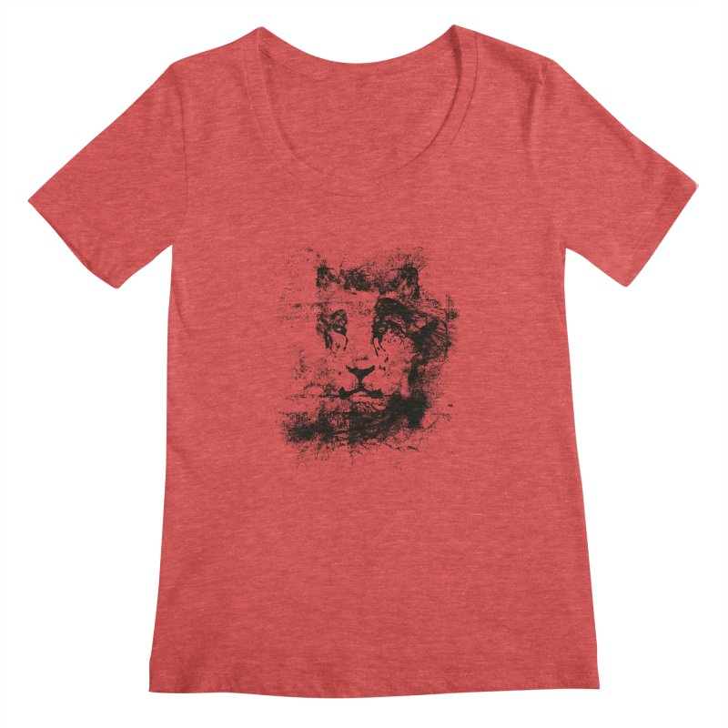 Ink Lion | On Sale!  ➔ in Women's Scoopneck Chili Red by The Mindful Tee