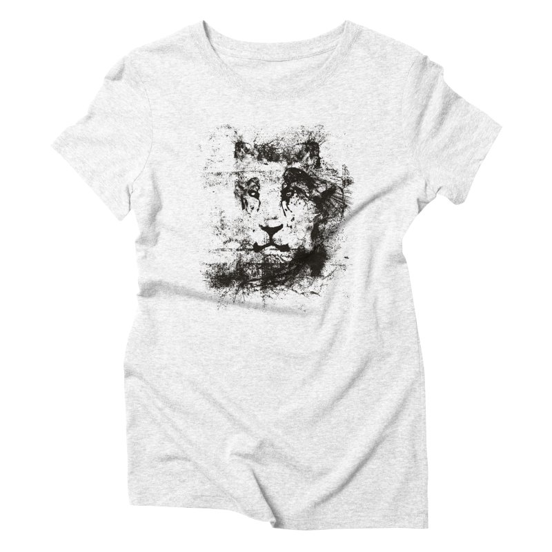 Ink Lion   On Sale!  ➔ in Women's Triblend T-shirt Heather White by The Mindful Tee