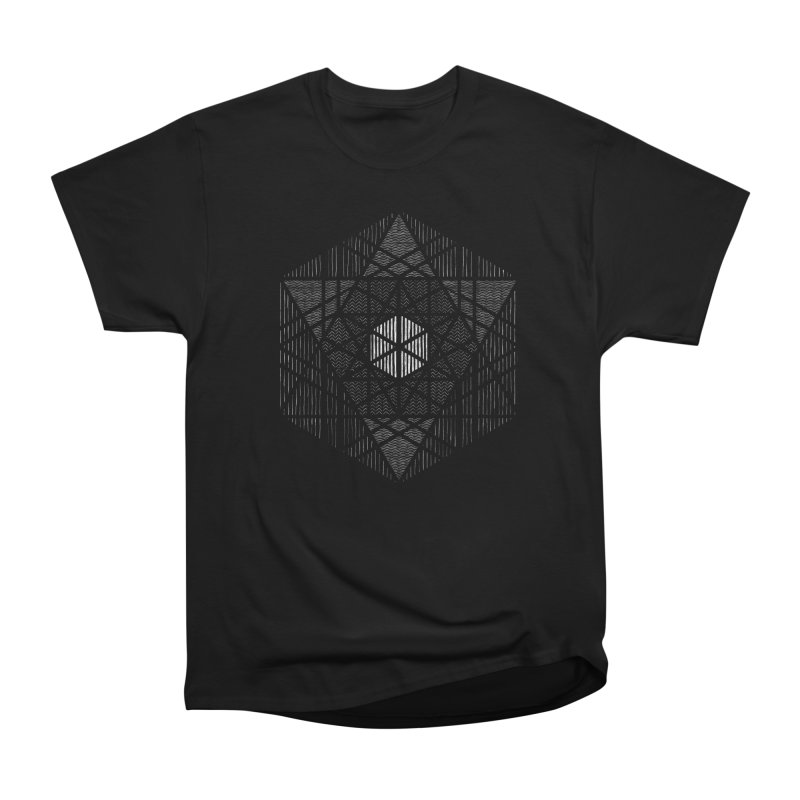 Yoga Geometry Abstraction in Men's Heavyweight T-Shirt Black by The Mindful Tee