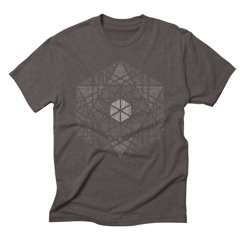 Yoga Geometry Abstraction in Men's Triblend T-shirt Tri-Coffee by The Mindful Tee
