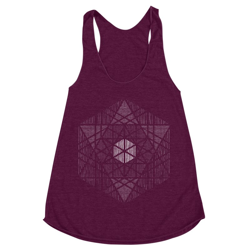 Yoga Geometry Abstraction in Women's Racerback Triblend Tank Tri-Cranberry by The Mindful Tee