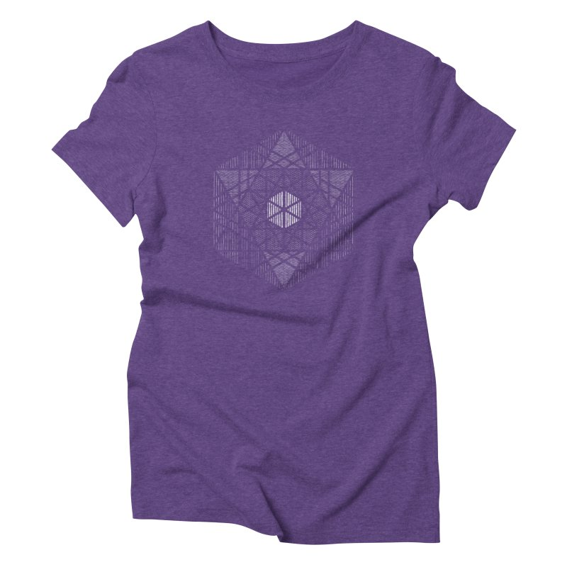 Yoga Geometry Abstraction in Women's Triblend T-Shirt Tri-Purple by The Mindful Tee