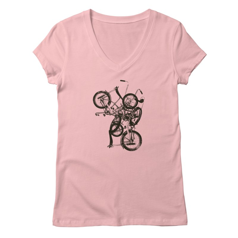 Bike Chaos | On Sale!   ➔ in Women's Regular V-Neck Pink by The Mindful Tee