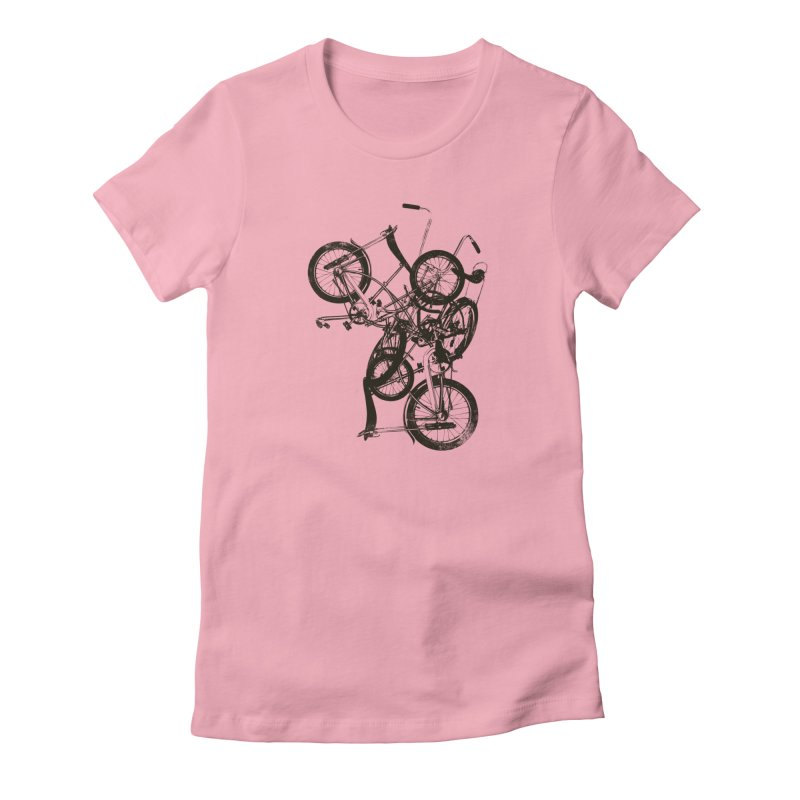 Bike Chaos | On Sale!   ➔ in Women's Fitted T-Shirt Light Pink by The Mindful Tee