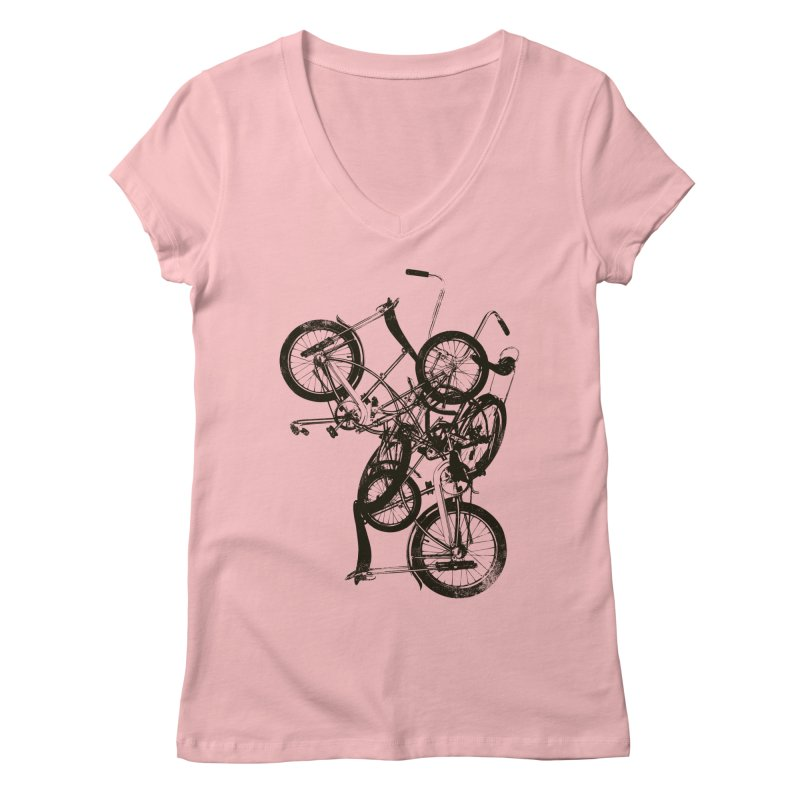 Bike Chaos | On Sale!   ➔ in Women's V-Neck Pink by The Mindful Tee