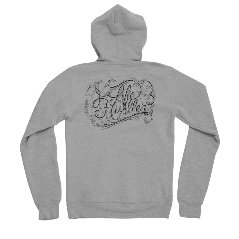 Life Hustler (Clear colors). Men's Sponge Fleece Zip-Up Hoody by The Mindful Tee