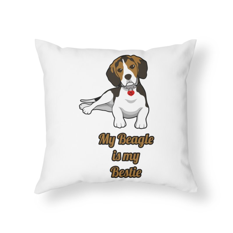 Beagle is my Bestie Home Throw Pillow by Mini Moo Moo Clothing Company
