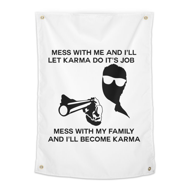 I am Karma Whiteout Home Tapestry by Mini Moo Moo Clothing Company