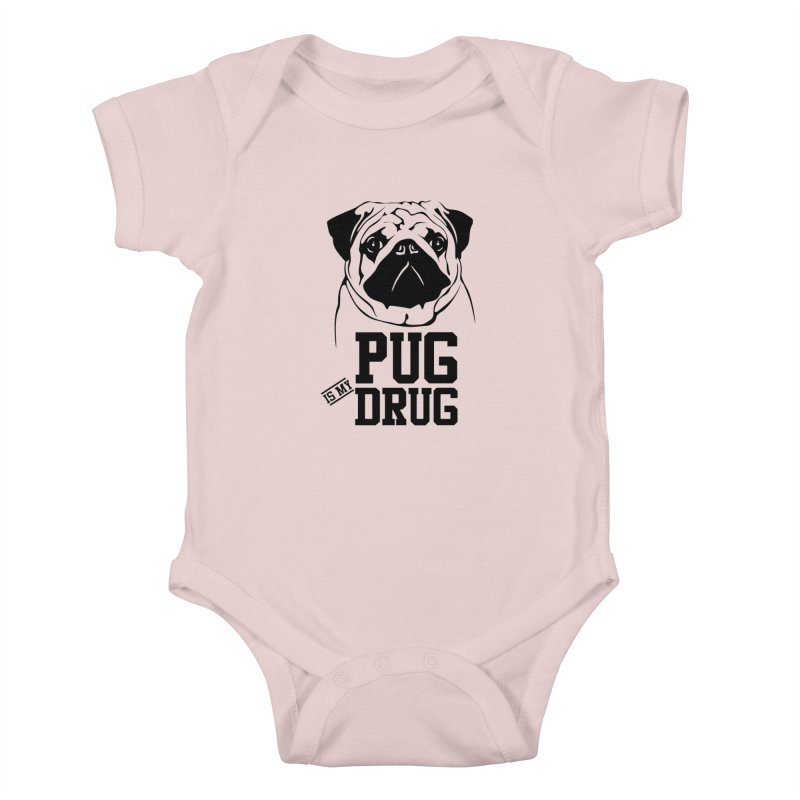 Pug is my Drug Again Kids Baby Bodysuit by Mini Moo Moo Clothing Company