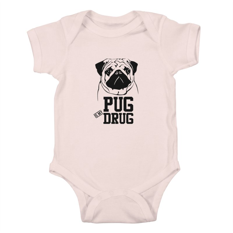 Pug is my Drug Again Kids Baby Bodysuit by Mini Moo Moo Clothing Company