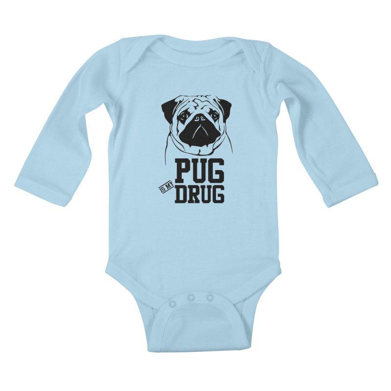 Pug is my Drug Again Kids Baby Longsleeve Bodysuit by Mini Moo Moo Clothing Company