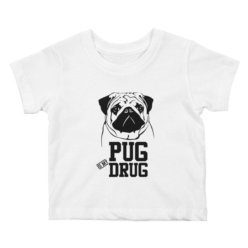 Pug is my Drug Again Kids Baby T-Shirt by Mini Moo Moo Clothing Company